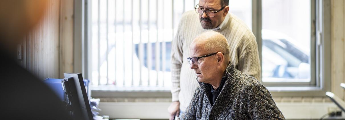 Per og Jørgen på kontoret